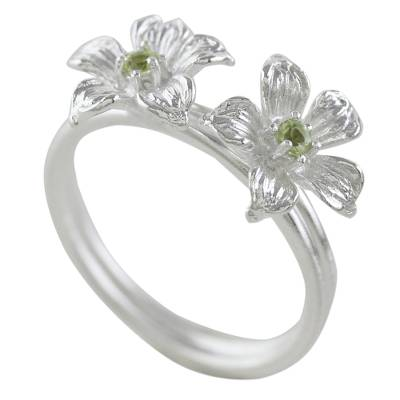 Thai Peridot and Sterling Silver Floral Cocktail Ring