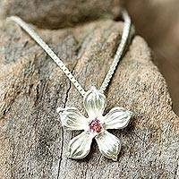 Tourmaline pendant necklace, 'Winter Bloom'