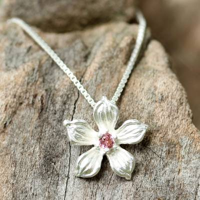 Tourmaline pendant necklace, 'Winter Bloom' - Sterling Silver Tourmaline Floral Pendant Necklace Thailand