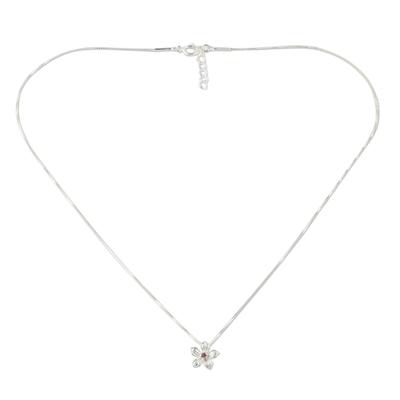Tourmaline pendant necklace, 'Winter Bloom' - Sterling Silver Tourmaline Floral Pendant Necklace Thailand