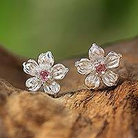 Tourmaline stud earrings, 'Winter Blooms' - Sterling Silver Pink Tourmaline Floral Stud Earrings