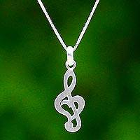 Sterling silver pendant necklace, 'Musical Soul' - Treble Clef Sterling Silver Pendant Necklace from Thailand