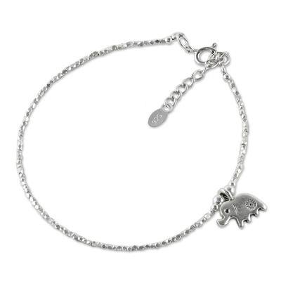 Silver beaded bracelet, 'Pachyderm Charm' - Thai Karen Silver Beaded Bracelet & Elephant Charm