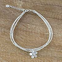 Silver beaded bracelet, 'Summer Bloom' - Silver Beaded Bracelet with Flower Charm From Thailand