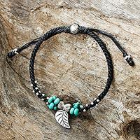 Silver pendant bracelet, 'Island Leaf' - Silver Leaf Pendant Bracelet with Black Cord from Thailand