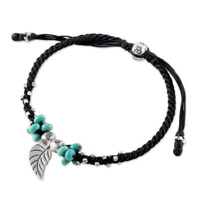 Silver Leaf Pendant Bracelet with Black Cord from Thailand