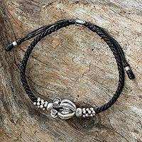 Silver beaded macrame bracelet, 'Calotropis' - Hand Made Black Braided Bracelet with Calotropis Flower