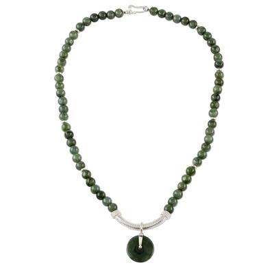 Jade beaded pendant necklace, 'Green Royalty' - Jade and Sterling Silver Beaded Pendant Necklace Thailand