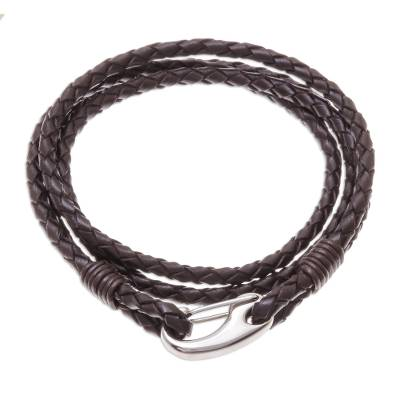 Braided Leather Artisan Crafted Stainless Steel Pendant Wrap Bracelet