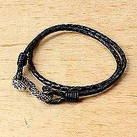 Leather wrap bracelet, 'Serpentine Connection' - Black Leather Wrap Bracelet with Snake Pendant Thailand