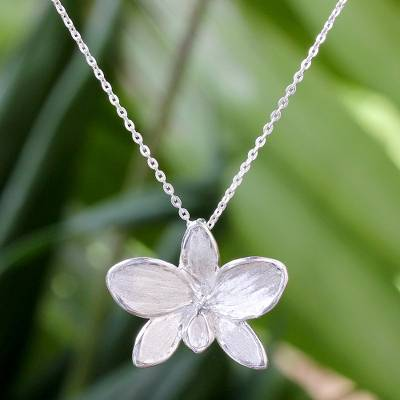 Hand crafted thai sterling silver orchid pendant necklace silver sterling silver pendant necklace silver snow orchid hand crafted thai sterling silver aloadofball Choice Image