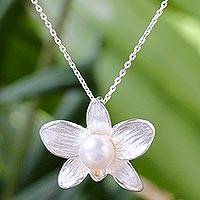 Cultured pearl pendant necklace, 'White Orchid' - Cultured Pearl and Sterling Silver Floral Pendant Necklace