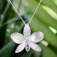 Amethyst pendant necklace, 'Snow Orchid' - Thai Amethyst and Sterling Silver Floral Pendant Necklace