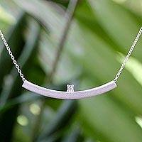 Cubic zirconia pendant necklace, 'Glistening Minimalism' - Sterling Silver and Cubic Zirconia Pendant Necklace Thailand