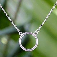 Sterling silver pendant necklace, 'Minimalist Circle' - Artisan Crafted Minimalist Sterling Silver Pendant Necklace