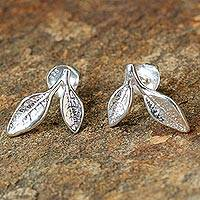 Sterling silver stud earrings, 'Orange Leaves' - Sterling Silver Leafy Stud Earrings from Thailand