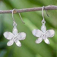 Sterling silver flower dangle earrings, 'Silver Snow Orchid' - Sterling Silver Orchid Flower Dangle Earrings from Thailand