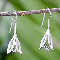 Sterling silver drop earrings, 'Flower Fall' - Sterling Silver Drop Earrings from Thailand