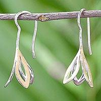 Gold plated sterling silver drop earrings, 'Shimmering Floral' - Handmade Gold Plated Sterling Silver Floral Dangle Earrings