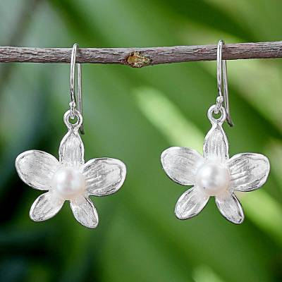 Cultured pearl dangle earrings, 'White Orchid' - Sterling Silver Cultured Pearl Orchid Dangle Earrings