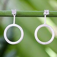 Cubic zirconia dangle earrings, 'Minimalist Touch' - Sterling Silver and Cubic Zirconia Dangle Earrings Thailand