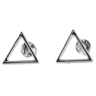 Sterling Silver Triangle Button Earrings Made in Thailand