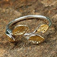 Gold accent band ring, 'Gold Wreath' - Sterling Silver and Gold Accent Wrap Ring from Thailand