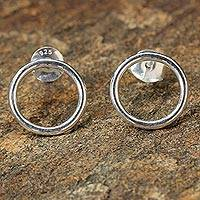 Sterling silver button earrings, 'Shining Circles' - Minimalist Sterling Silver Button Earrings from Thailand