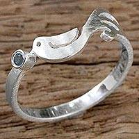Blue topaz band ring, 'Gift from a Dove' - Sterling Silver Blue Topaz Bird Band Ring from Thailand