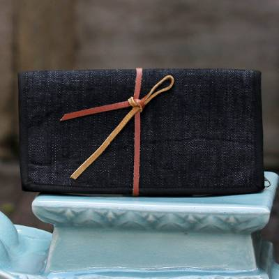 Cotton jewelry roll, 'Denim Journey' - Denim Jewelry Roll with 6 Pockets from Thailand