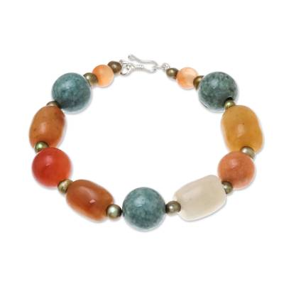 Jade and cultured pearl beaded bracelet,