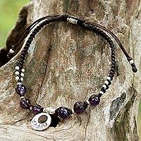 Amethyst braided bracelet, 'Hill Tribe Intensity'