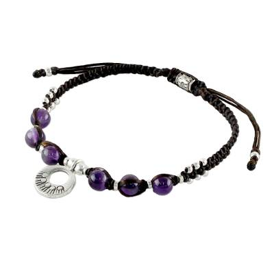 Amethyst braided bracelet, 'Hill Tribe Intensity' - Thai Artisan Jewelry Bracelet with Amethysts and 950 Silver