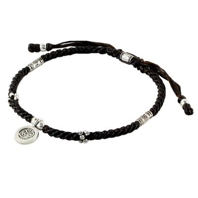 Handcrafted Black Adjustable Cord Silver Om Charm Bracelet