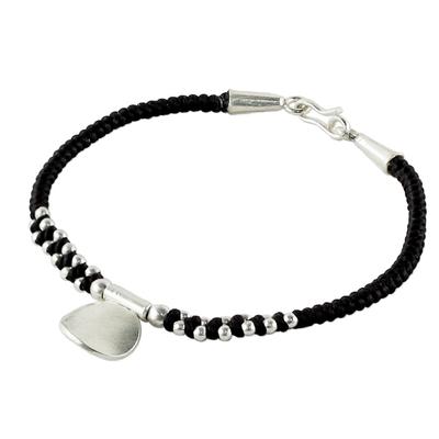 Handmade Black Braided Bracelet with Karen Silver Medallion
