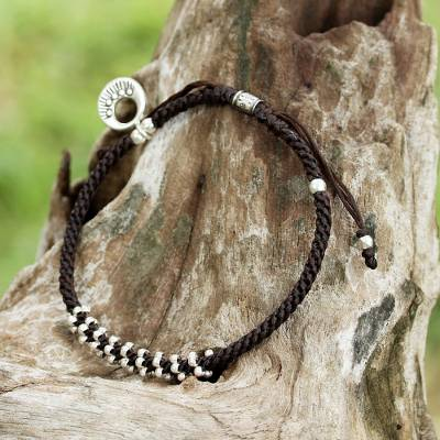 Silver braided bracelet, 'Hill Tribe Wonder' - Adjustable Braided Bracelet Karen Hill Tribe Silver Charm