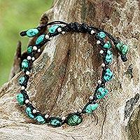 Sterling silver braided bracelet, 'Turquoise Bohemian' - Thai Jewelry Braided Bracelet Turquoise Color 925 Silver