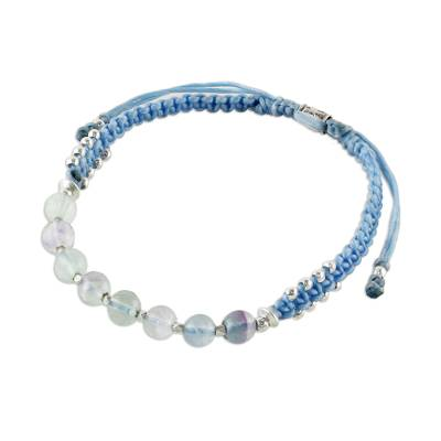 Fluorite Light Blue Braided Bracelet Thai Hill Tribe Silver