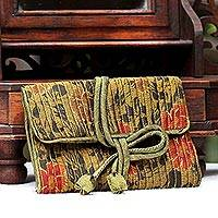 Rayon and silk blend jewelry roll, 'Olive Floral Journey' - Rayon Silk Blend Jewelry Roll Floral Olive Motif Thailand