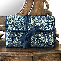 Rayon and silk blend jewelry roll, 'Blue Floral Journey'