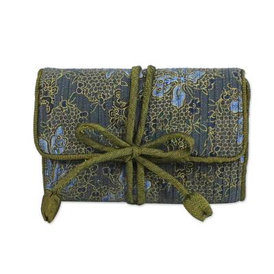 Rayon and silk blend jewelry roll, 'Slate Floral Journey' - Rayon Silk Blend Jewelry Roll in Grey Floral