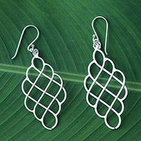Sterling silver dangle earrings, 'Shining Sea' - Sterling Silver Layered Dangle Earrings from Thailand