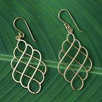 Gold plated sterling silver dangle earrings, 'Golden Shining Sea' - Thai Gold Plated Sterling Silver Layered Dangle Earrings