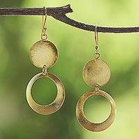 Gold plated dangle earrings, 'Golden Shimmering Moon' - Thai Gold Plated Sterling Silver Circular Dangle Earrings