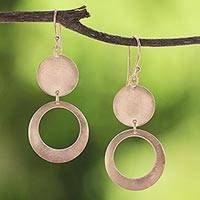 Rose gold plated sterling silver dangle earrings, 'Shimmering Pink Moon' - Rose Gold Plated Sterling Silver Circular Dangle Earrings