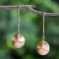 Rose gold plated sterling silver dangle earrings, 'Pink Thai Shimmer' - Rose Gold Plated Disc Dangle Earrings from Thailand