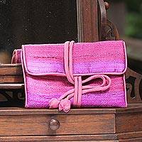 Silk blend jewelry roll, 'Happy Travels in Purple'