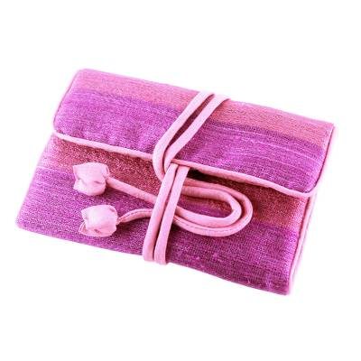 Silk blend jewelry roll, 'Happy Travels in Purple' - Handwoven Purple and Pink Jewelry Roll from Thailand