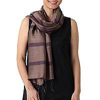 Silk and cotton blend scarf, 'Friendly Stripes'