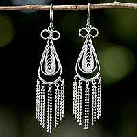 Sterling silver filigree chandelier earrings, 'Forever Admirable' - 925 Sterling Silver Handcrafted Earrings from Thai Jewelry